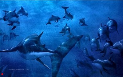 Bloodscent, White Shark at Dolphin Birth, Oil, 60 x 90 cm (24 x 36 inches)