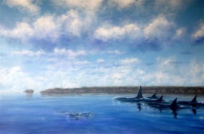 Orca And little Blues in the Channel